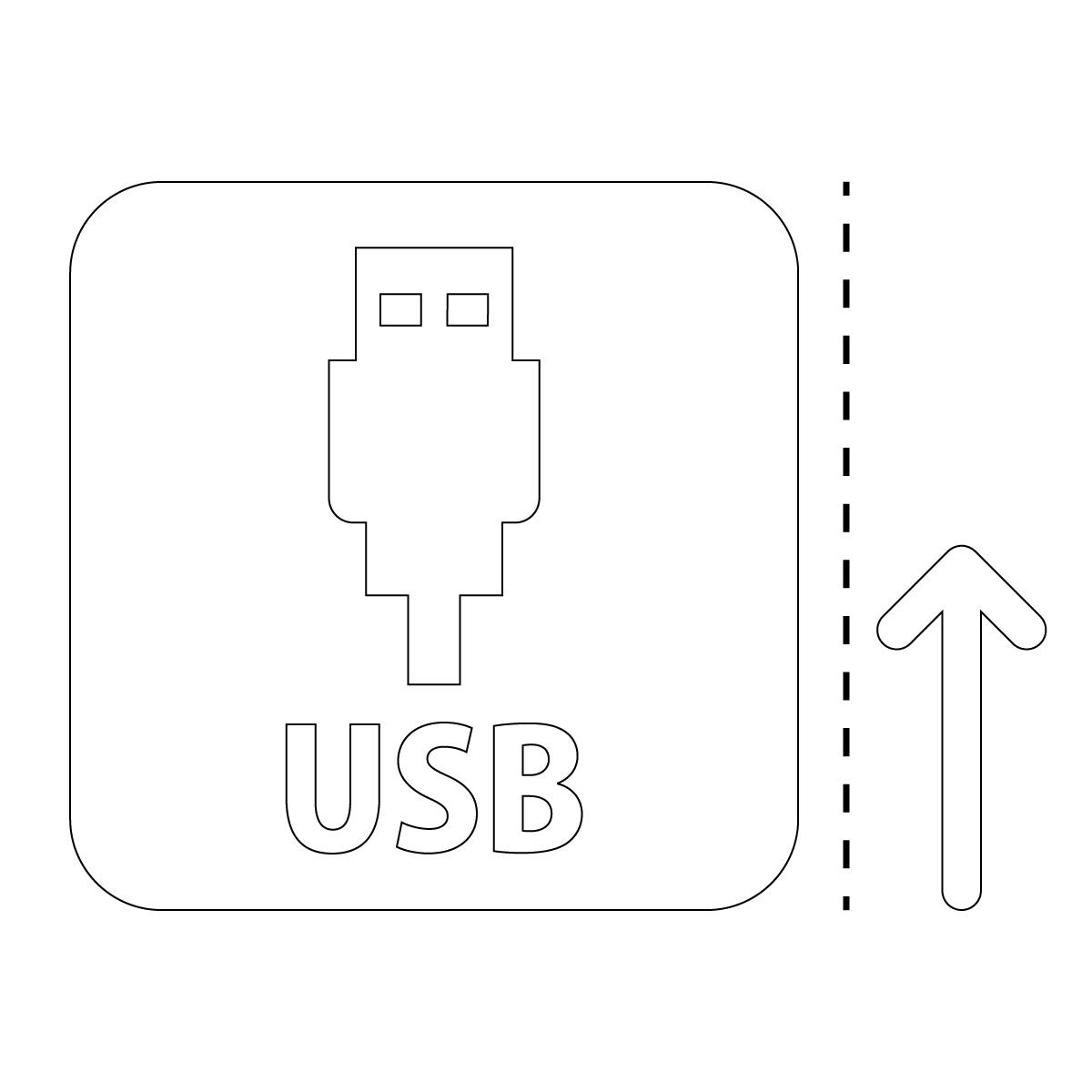 白色のUSBポート案内マーク(矢印付き)のカッティングステッカー・シール 光沢タイプ・防水・耐水・屋外耐候3~4年