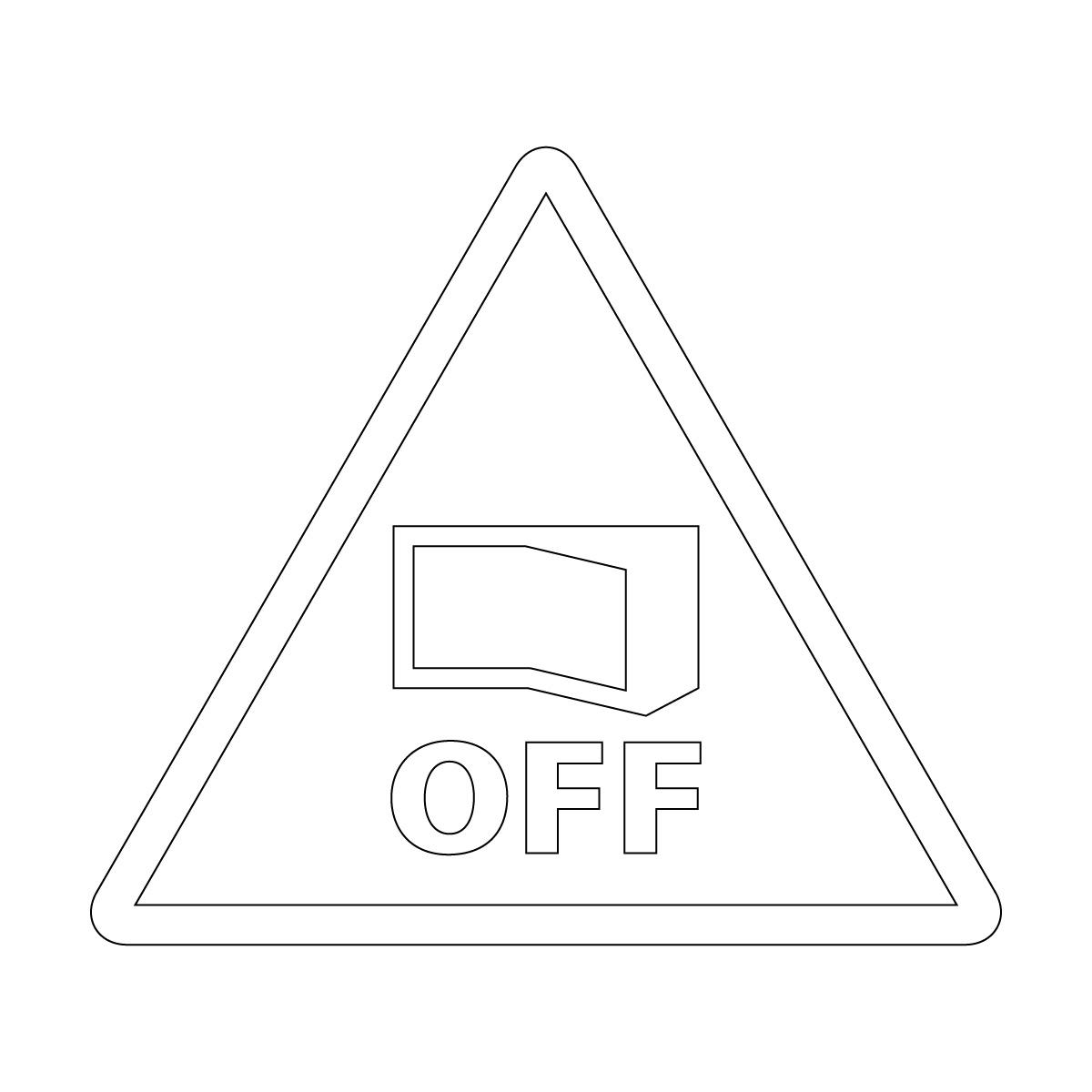 白色の節電注意・電源OFF確認マークのカッティングステッカー・シール 光沢タイプ・防水・耐水・屋外耐候3~4年