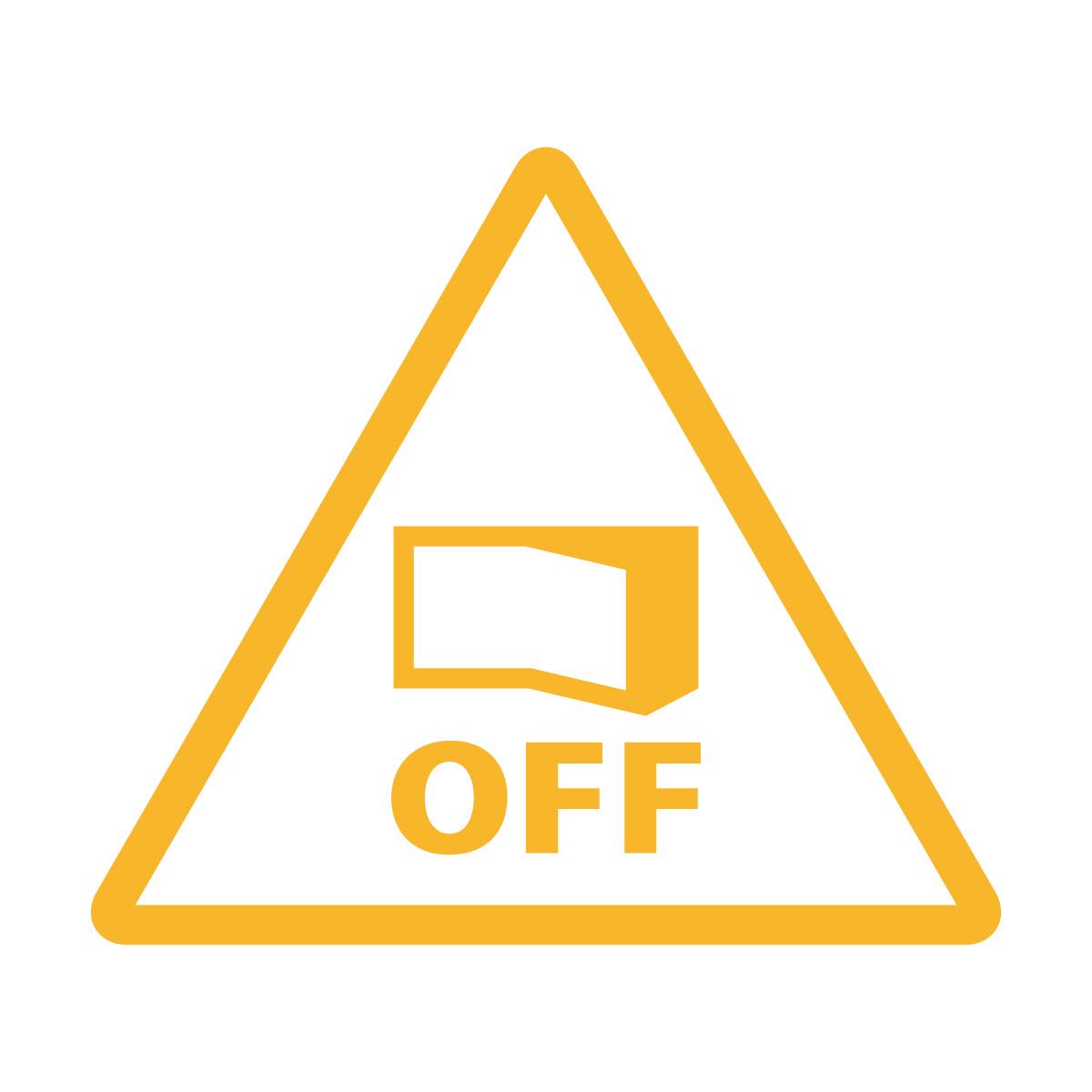 黄色の節電注意・電源OFF確認マークのカッティングステッカー・シール 光沢タイプ・防水・耐水・屋外耐候3~4年