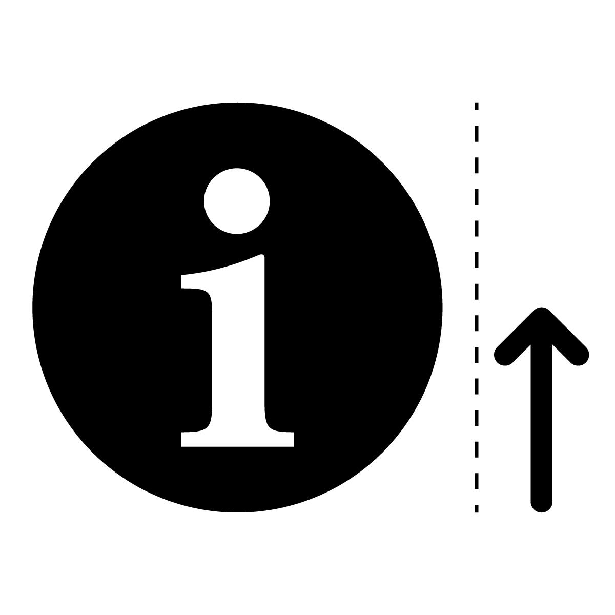 黒色のインフォメーション・受付・案内所マーク(矢印付き)のカッティング ステッカー・シール 光沢タイプ・防水・耐水・屋外耐候3~4年
