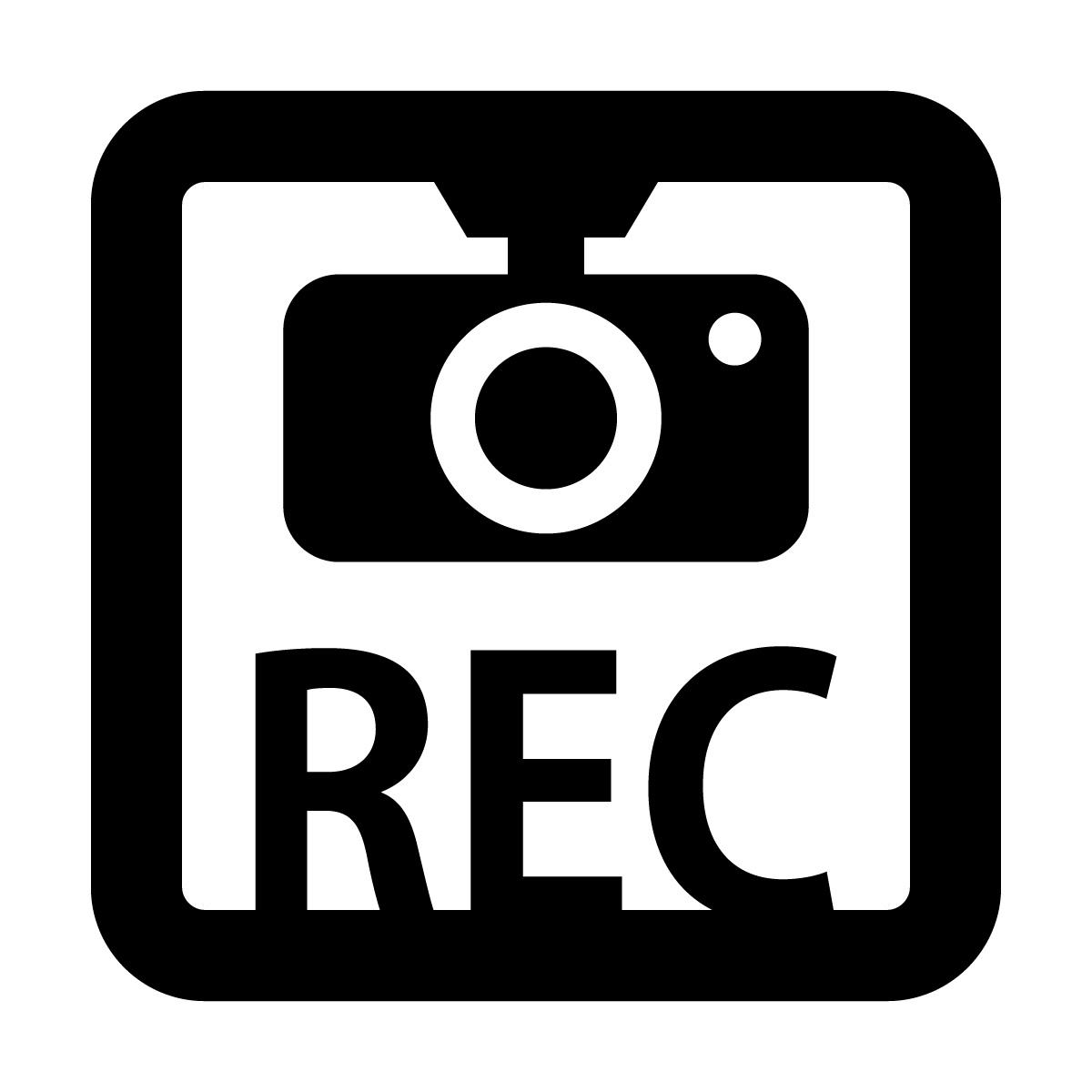 黒色のドラレコ 録画中 撮影中 REC 防犯 セキュリティーマークのカッティング ステッカー・シール 光沢タイプ・防水・耐水・屋外耐候3~4年 煽り運転 抑止 ドライブレコーダー 車間距離