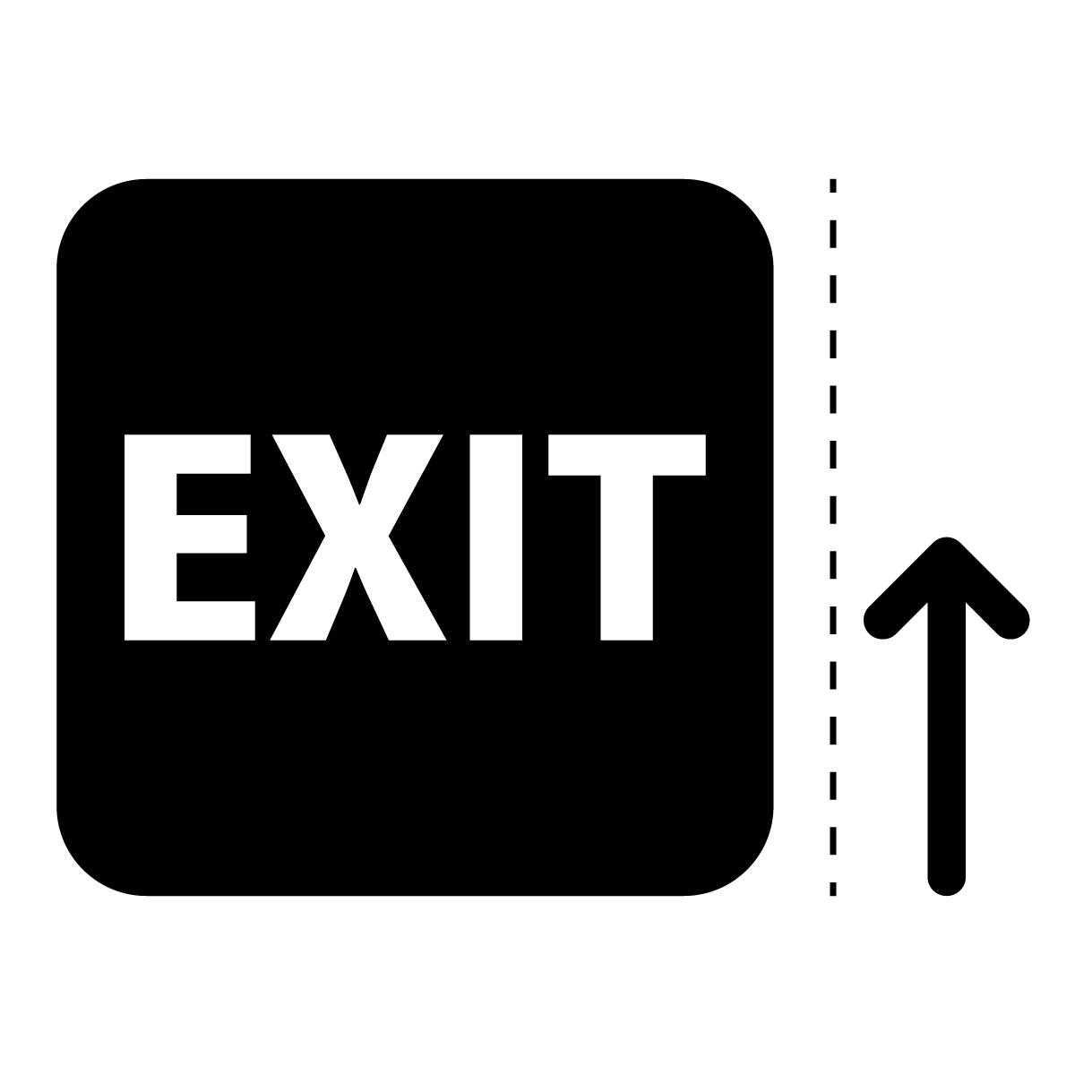 黒色の出口 EXIT 案内 マーク(矢印付き)のカッティング ステッカー シール