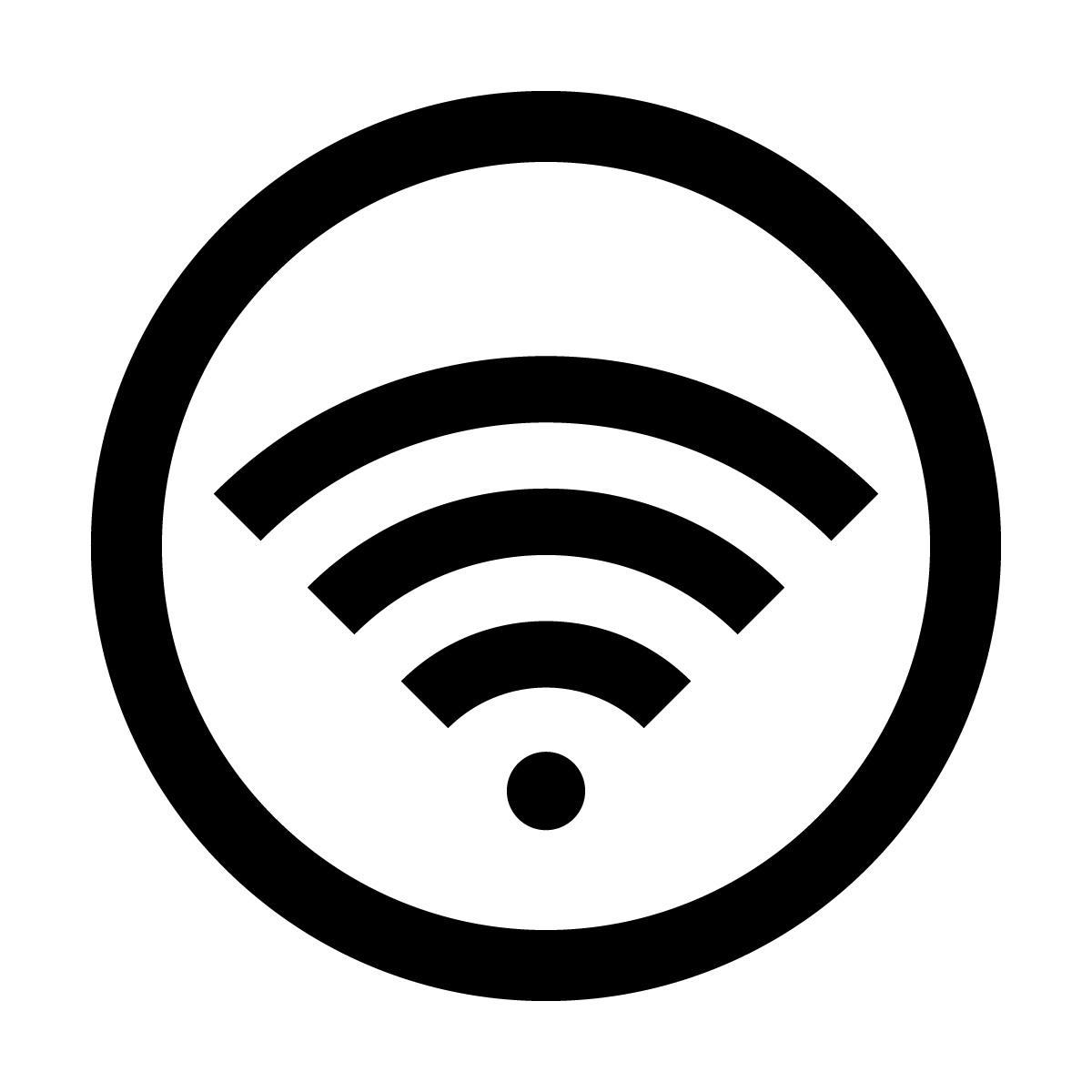 黒色のワイファイ Wi-Fi フリー 使用 OK 案内 マーク