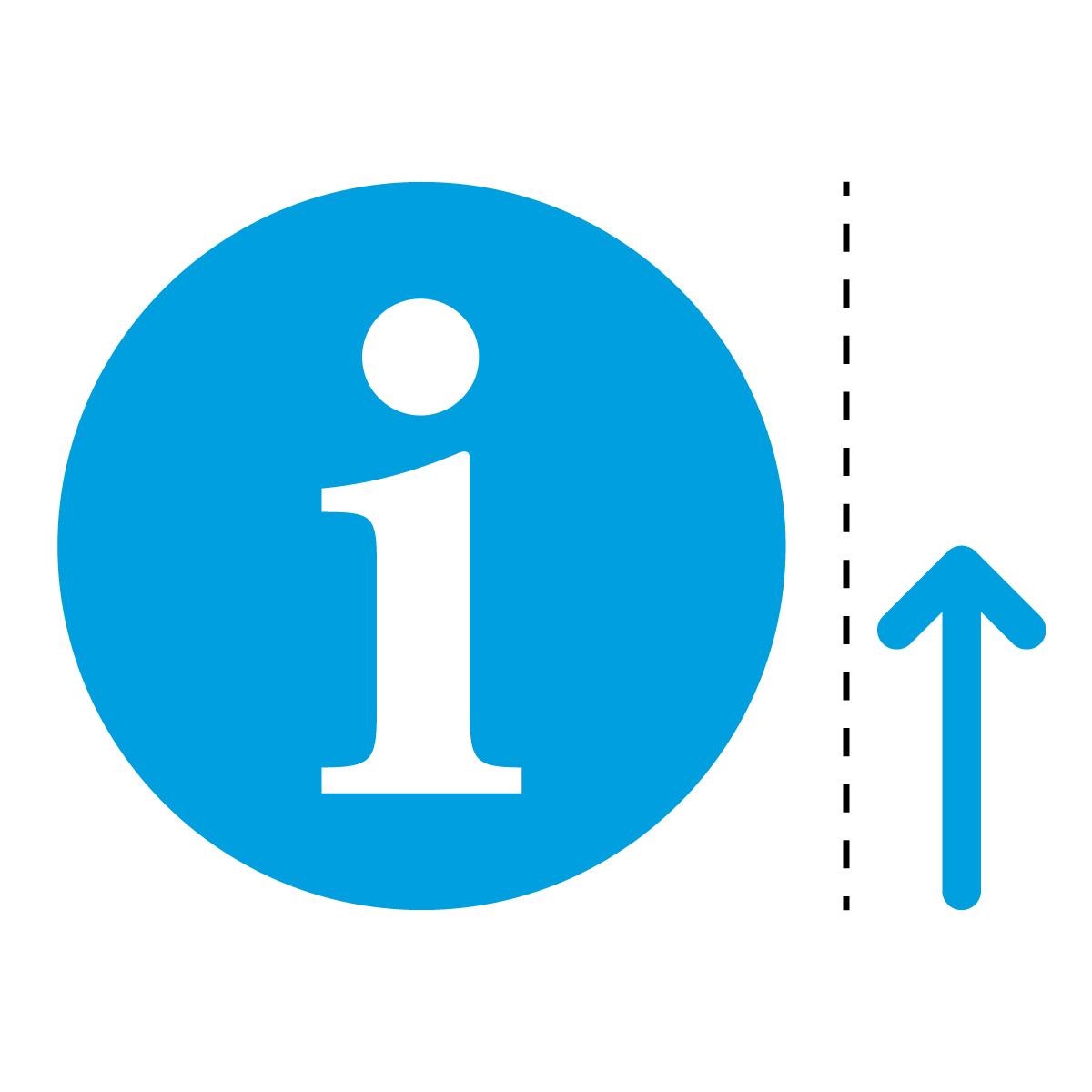 青色のインフォメーション・受付・案内所マーク(矢印付き)のカッティング ステッカー・シール 光沢タイプ・防水・耐水・屋外耐候3~4年