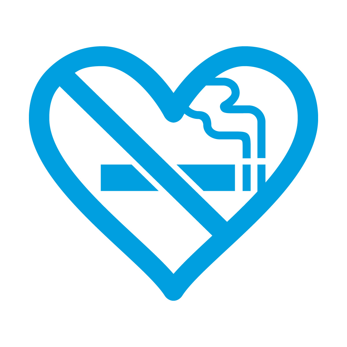 青色の禁煙 ハート シール ステッカー カッティングステッカー 光沢タイプ・防水 耐水・屋外耐候3~4年