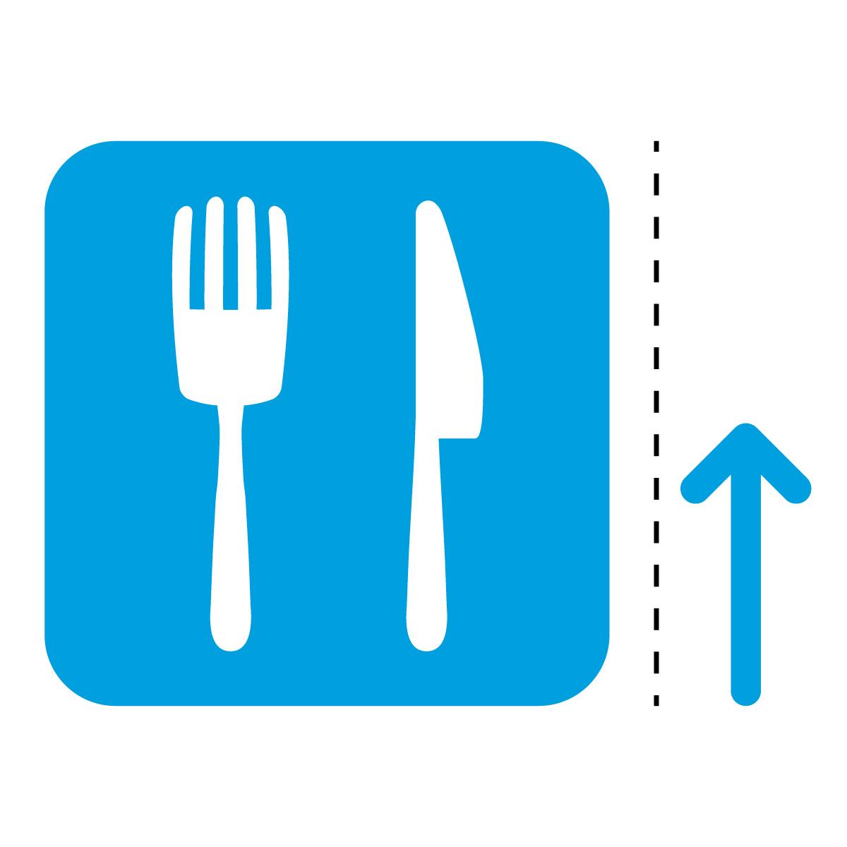 青色の飲食店 食事処 食堂 案内 マーク(矢印付き)のカッティング ステッカー シール 光沢タイプ・防水・耐水・屋外耐候3~4年