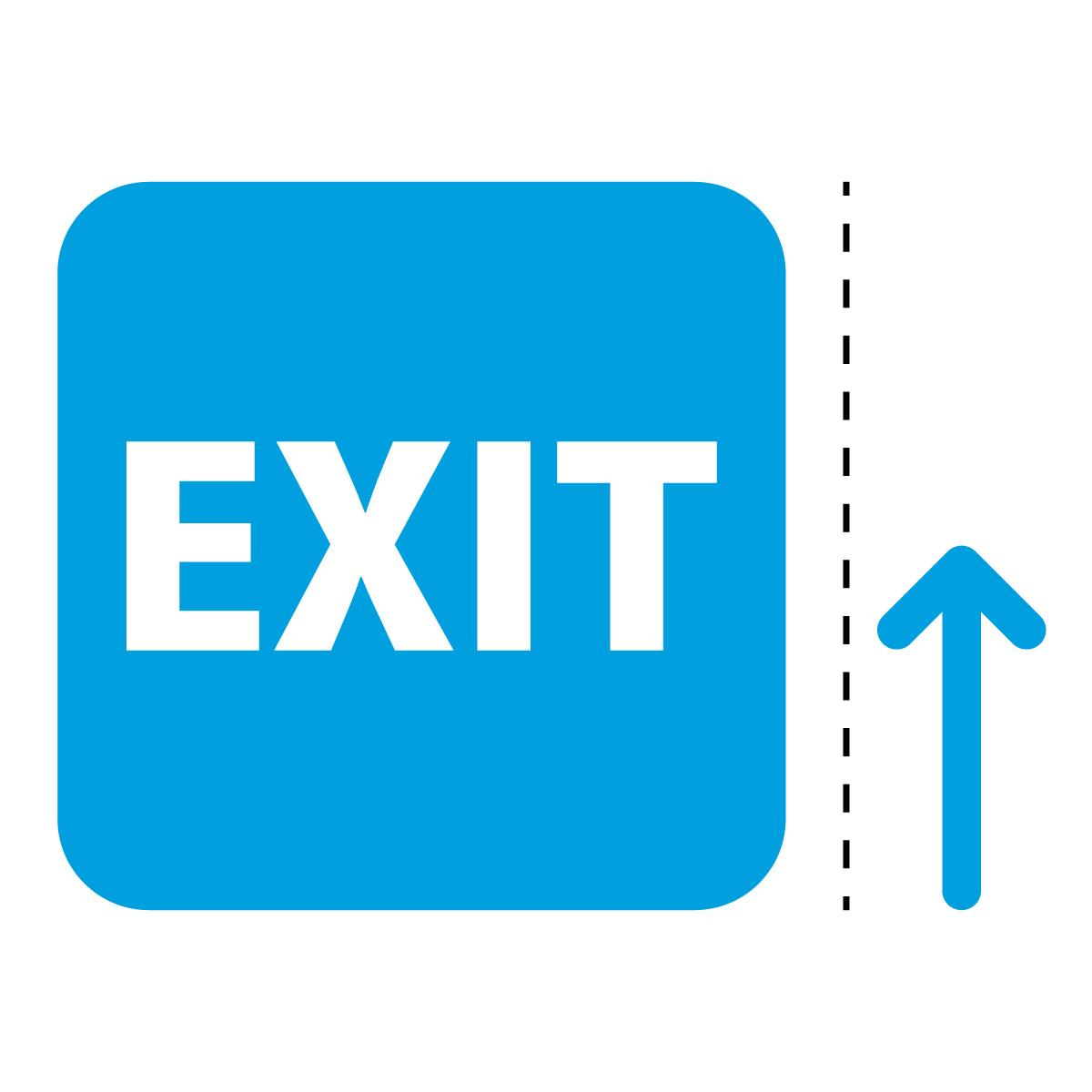 青色の出口 EXIT 案内 マーク(矢印付き)のカッティング ステッカー シール