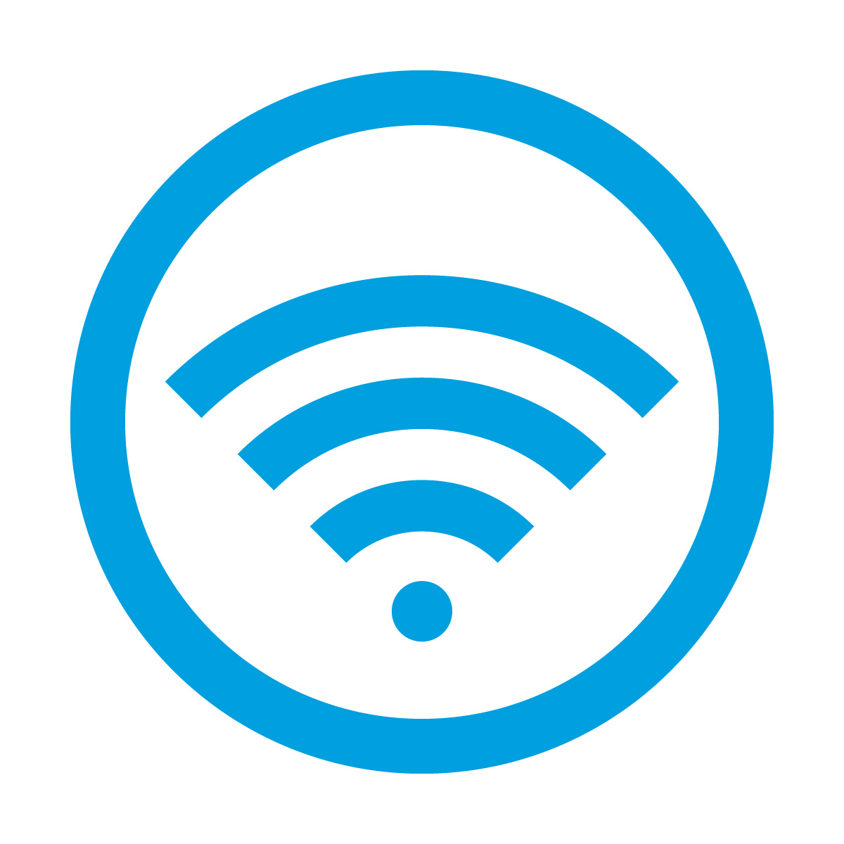 青色のワイファイ Wi-Fi フリー 使用 OK 案内 マーク