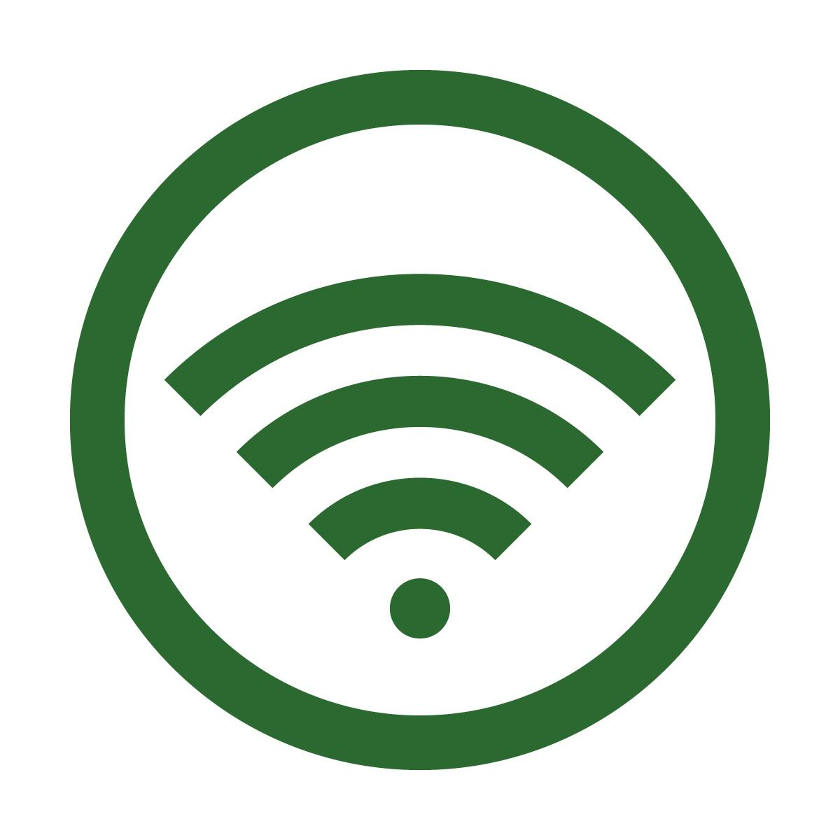 緑色のワイファイ Wi-Fi フリー 使用 OK 案内 マーク