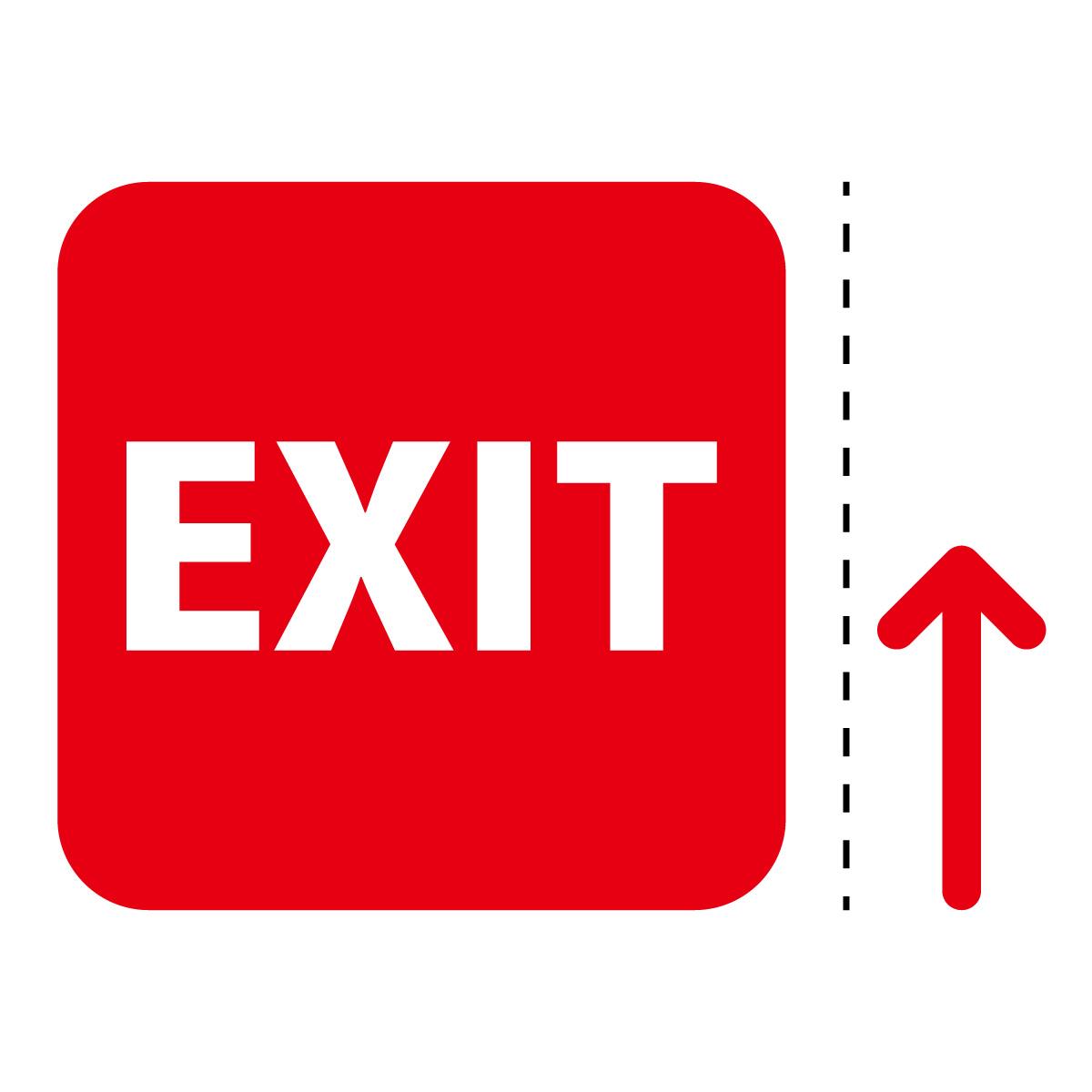 赤色の出口 EXIT 案内 マーク(矢印付き)のカッティング ステッカー シール