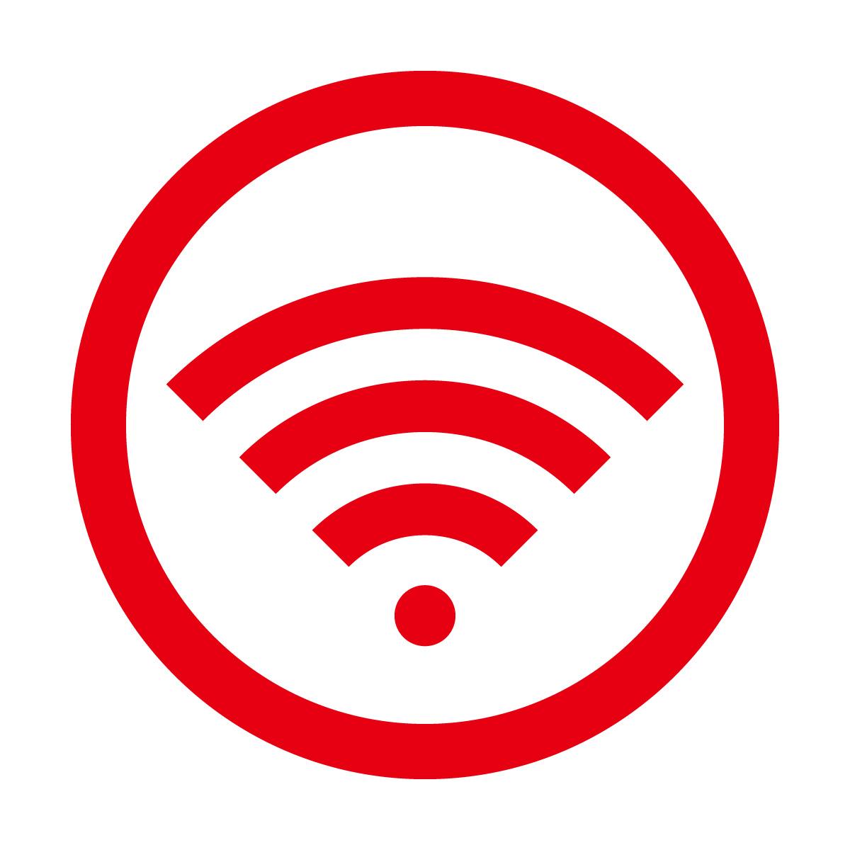 赤色のワイファイ Wi-Fi フリー 使用 OK 案内 マーク
