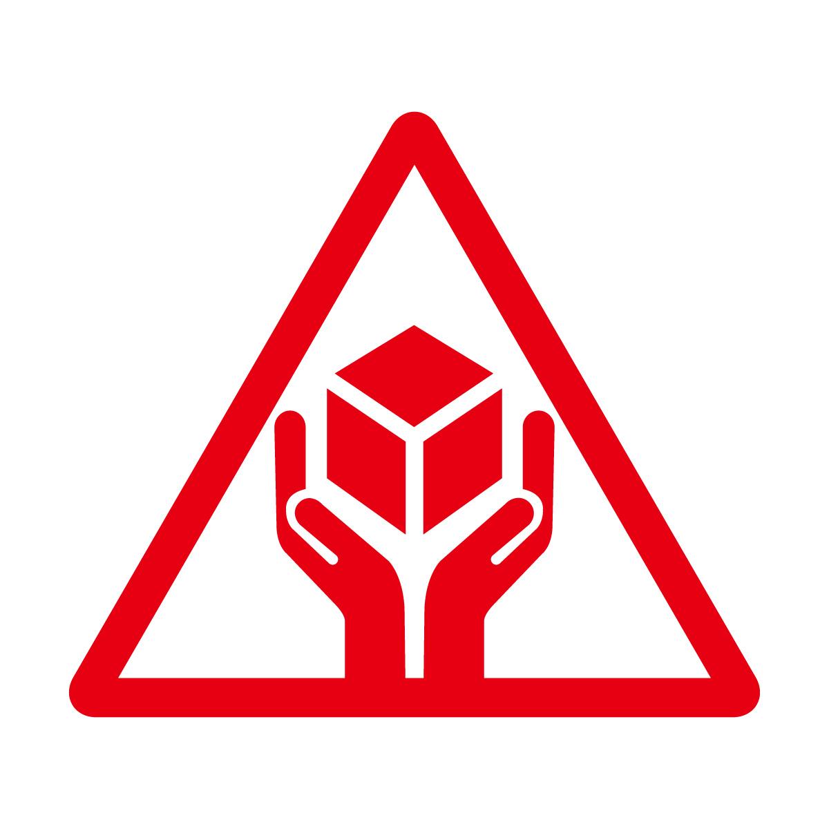 赤色の商品 配送 取扱い注意 シール ステッカー カッティングステッカー (矢印付き) 光沢タイプ・防水 耐水・屋外耐候3~4年