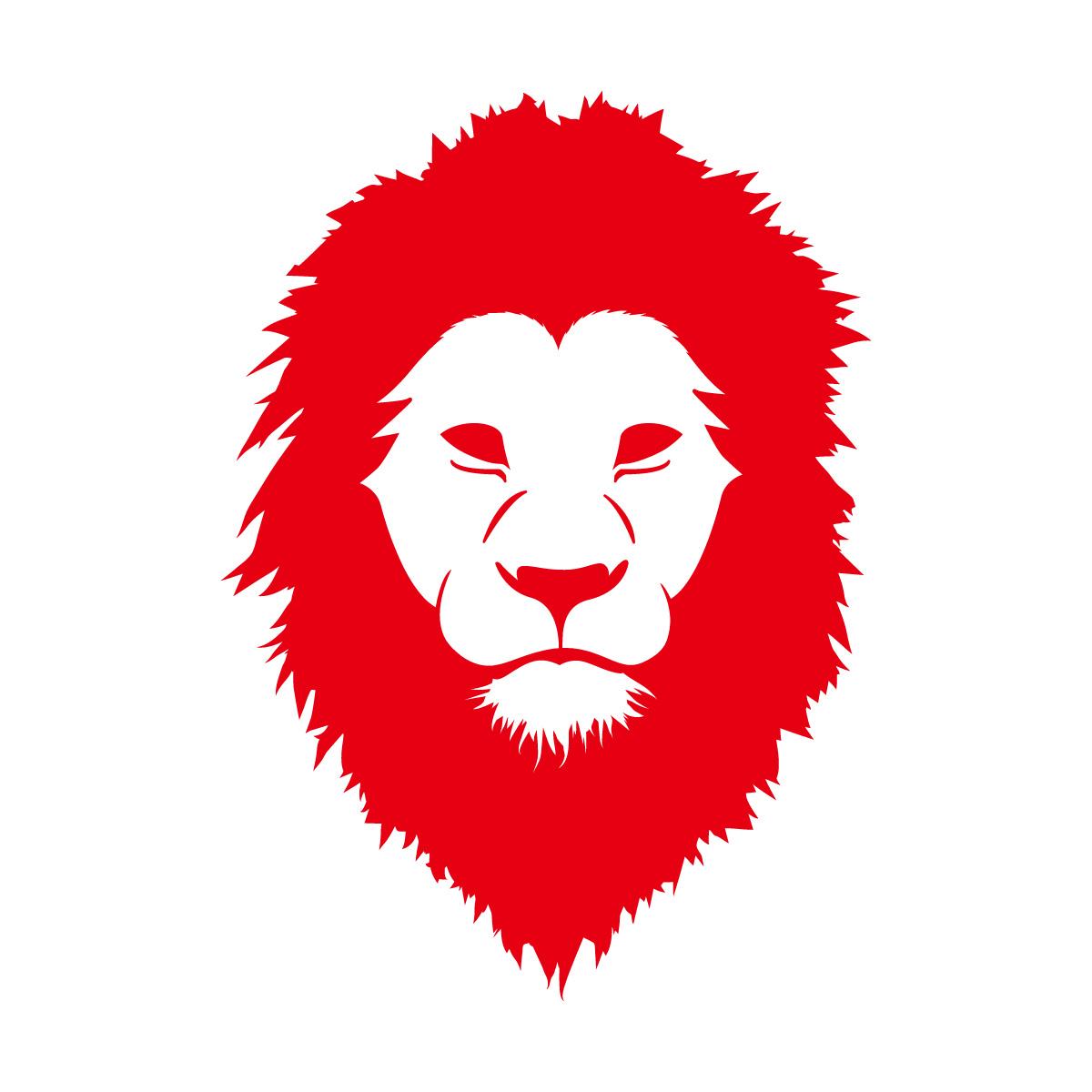 赤色のライオン シール ステッカー カッティングステッカー かっこいい 獅子 光沢タイプ・防水 耐水・屋外耐候3~4年