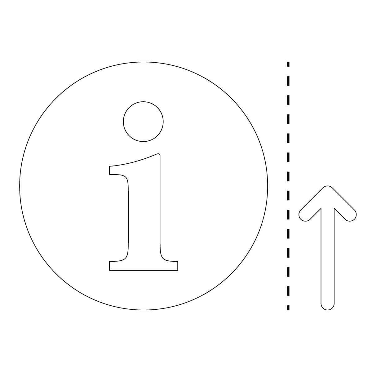 白色のインフォメーション・受付・案内所マーク(矢印付き)のカッティング ステッカー・シール 光沢タイプ・防水・耐水・屋外耐候3~4年