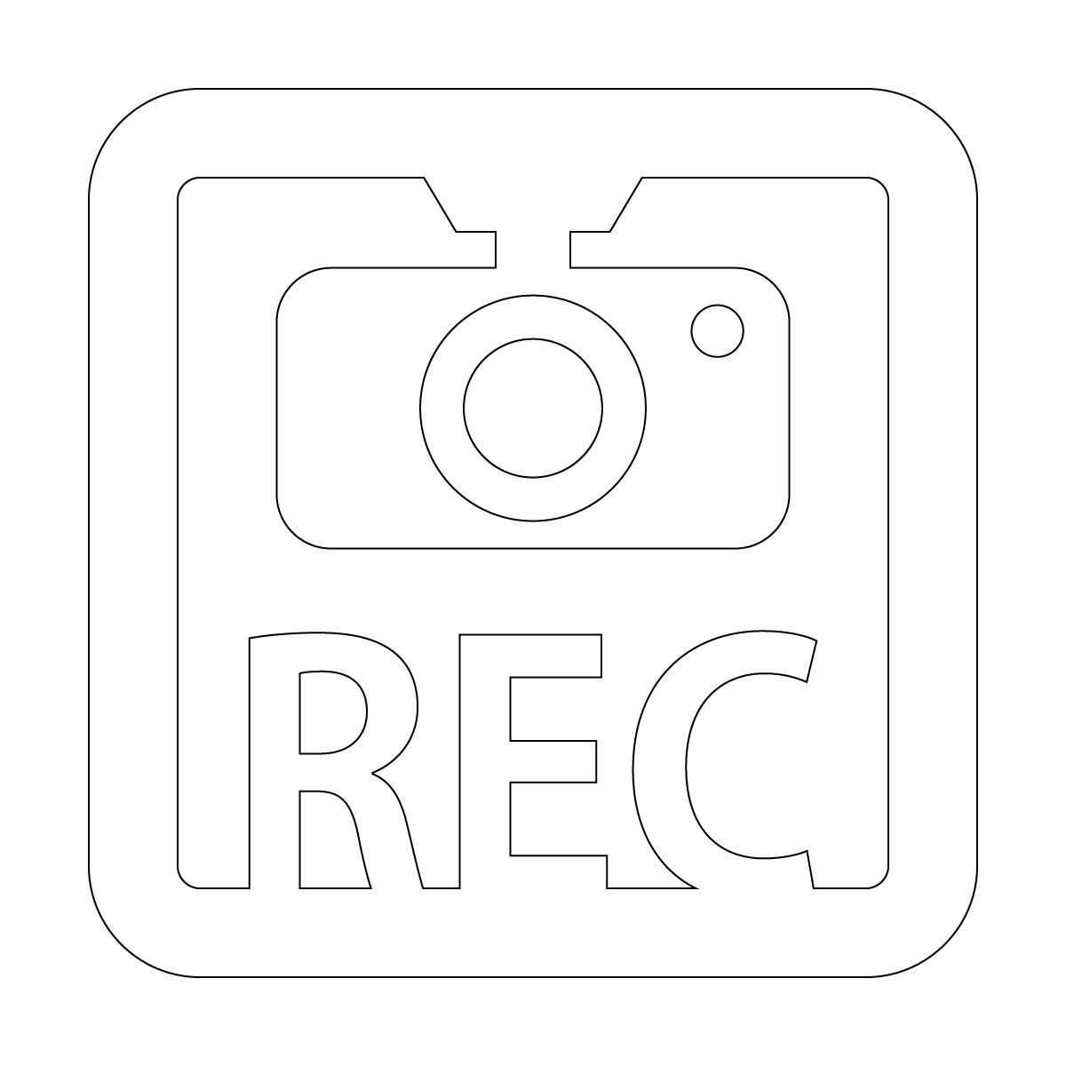 白色のドラレコ 録画中 撮影中 REC 防犯 セキュリティーマークのカッティング ステッカー・シール 光沢タイプ・防水・耐水・屋外耐候3~4年 煽り運転 抑止 ドライブレコーダー 車間距離