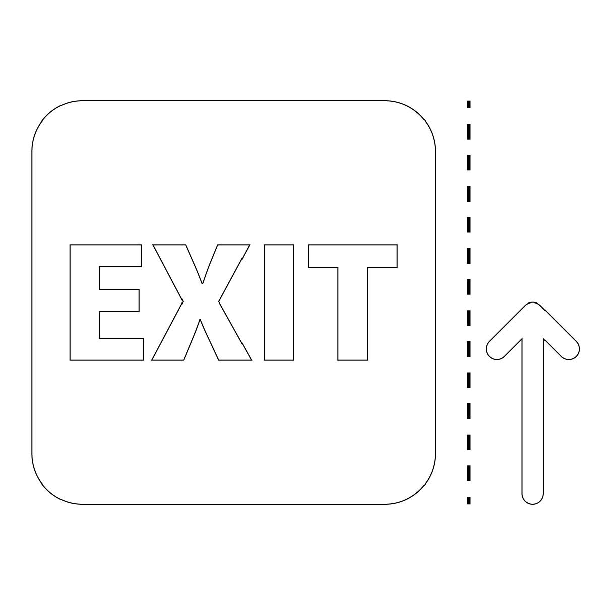 白色の出口 EXIT 案内 マーク(矢印付き)のカッティング ステッカー シール