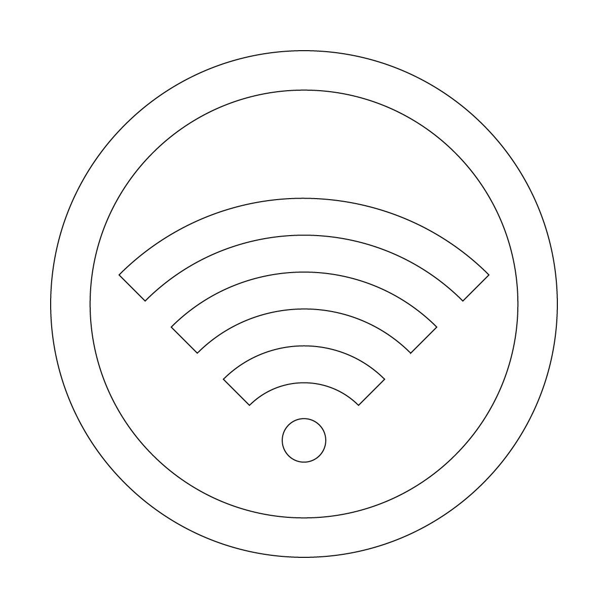 白色のワイファイ Wi-Fi フリー 使用 OK 案内 マーク