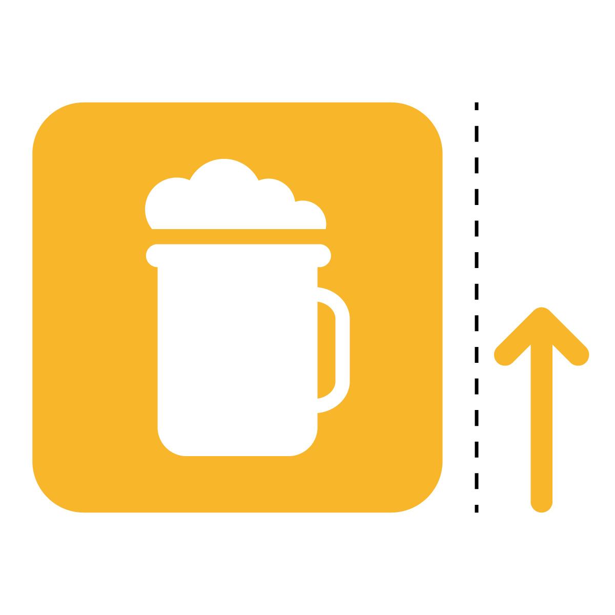 黄色のビール アルコール 案内 販売 マーク(矢印付き)のカッティング ステッカー シール 光沢タイプ・防水・耐水・屋外耐候3~4年