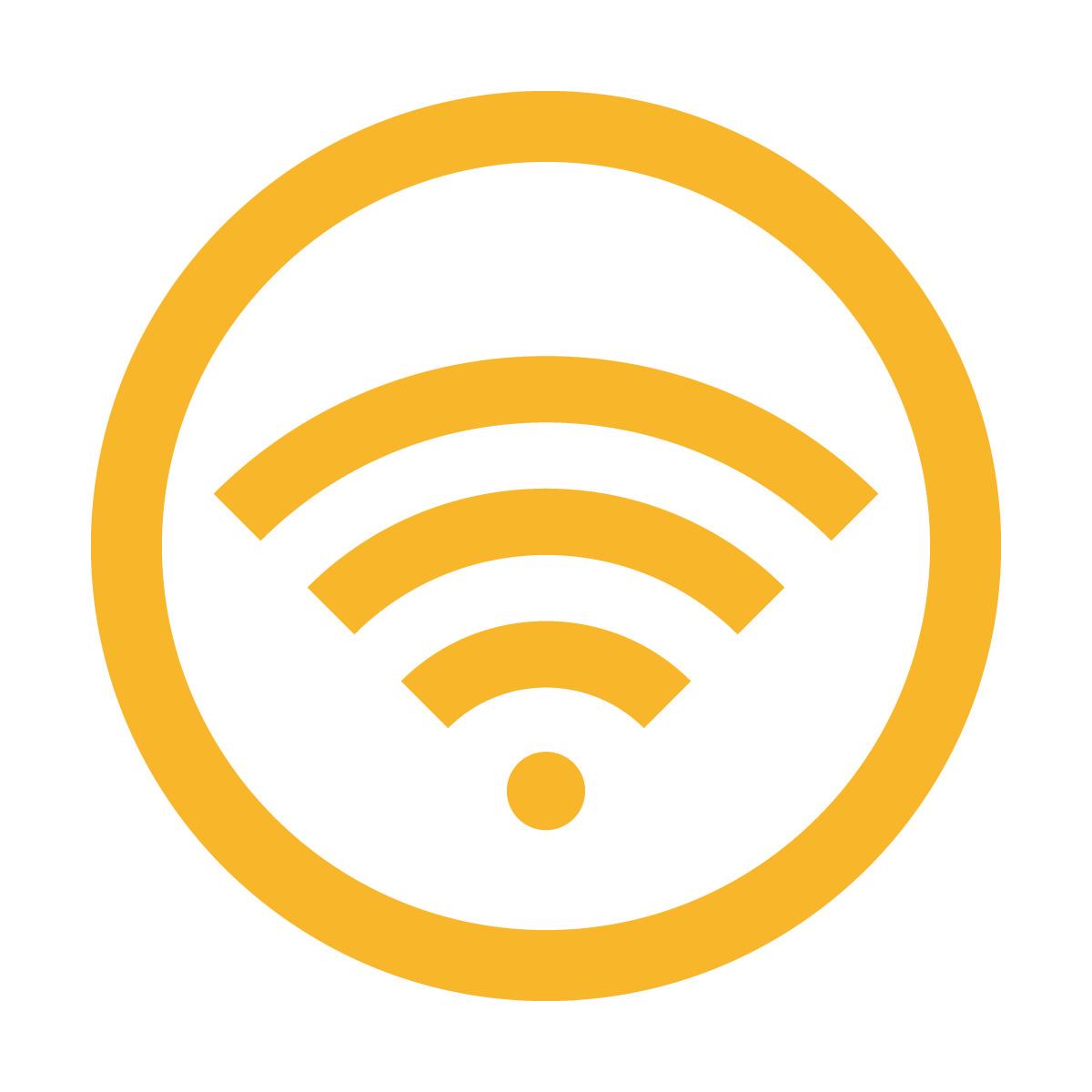 黄色のワイファイ Wi-Fi フリー 使用 OK 案内 マーク