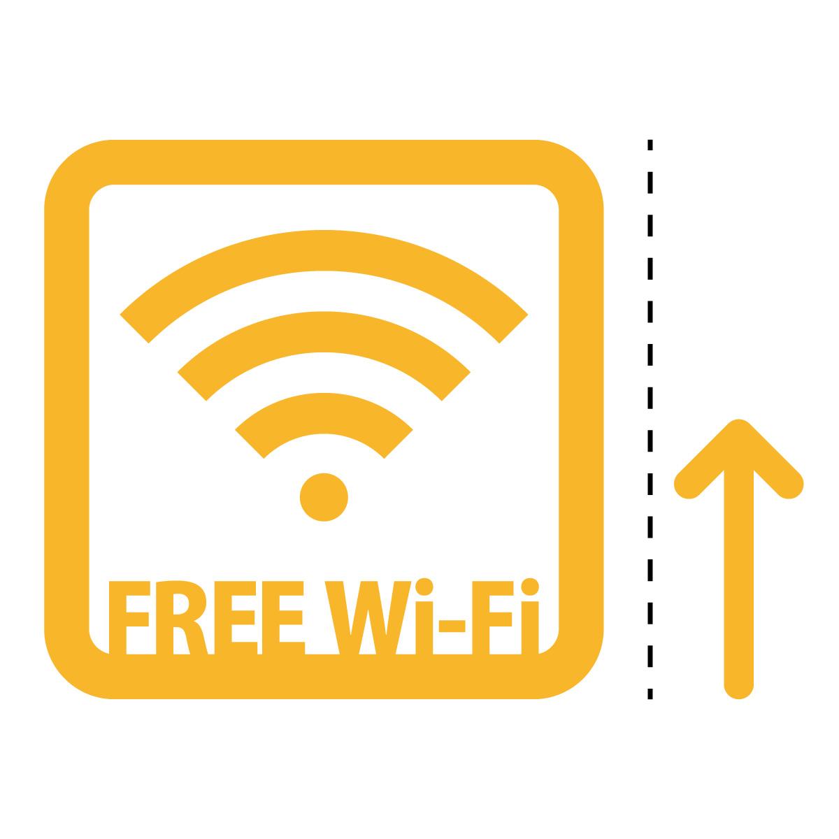 黄色のフリーワイファイ シール ステッカー FREE Wi-Fi 案内(矢印付き) マークのカッティングステッカー 光沢タイプ・防水・耐水・屋外耐候3~4年