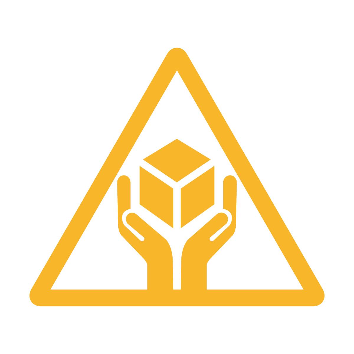 黄色の商品 配送 取扱い注意 シール ステッカー カッティングステッカー (矢印付き) 光沢タイプ・防水 耐水・屋外耐候3~4年