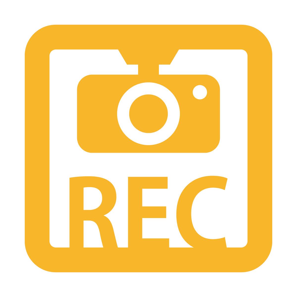黄色のドラレコ 録画中 撮影中 REC 防犯 セキュリティーマークのカッティング ステッカー・シール 光沢タイプ・防水・耐水・屋外耐候3~4年 煽り運転 抑止 ドライブレコーダー 車間距離