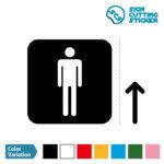 男性トイレ標識 シール カッティングステッカー 光沢タイプ・防水・耐水・屋外耐候3~4年