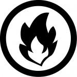 可燃物・火のマークのカッティングステッカーシール