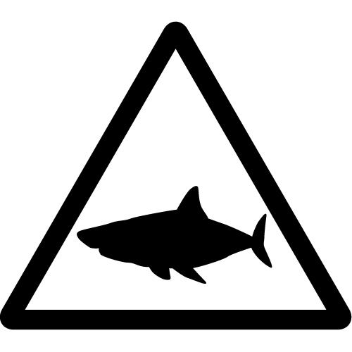 サメ注意マークのカッティングステッカーシール