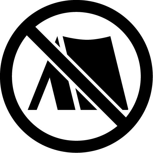 野営・キャンプ禁止マークのカッティングステッカーシール