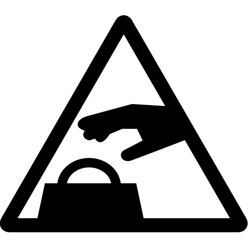 置引き注意マークのカッティングシートステッカー