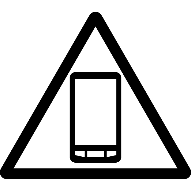 スマートフォン使用注意マークのカッティングシートステッカー