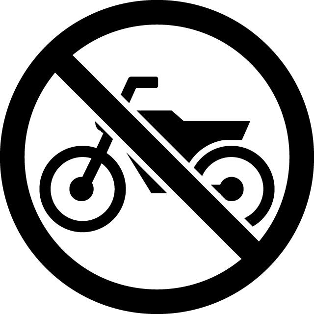 バイク禁止マークのカッティングシートステッカー