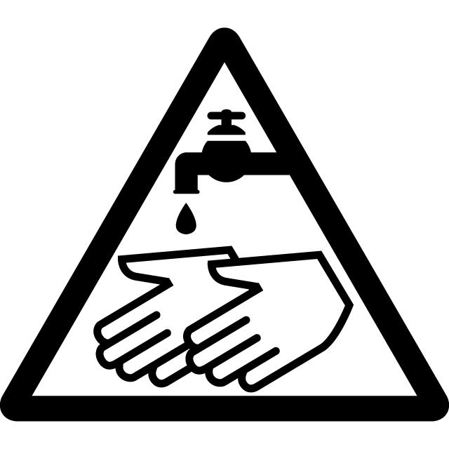 手洗い注意マークのカッティングシートステッカー