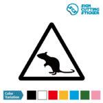 ネズミ注意マークのカッティングシート ステッカー シール