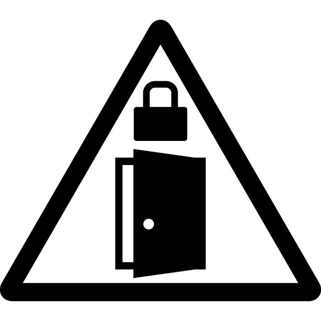 扉の施錠注意マークのカッティングシートステッカー