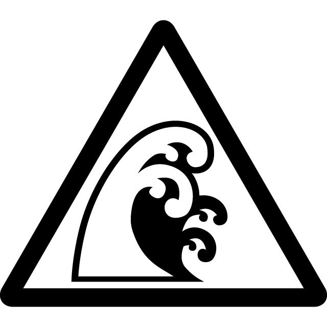 高波・津波注意マークのカッティングシートステッカー