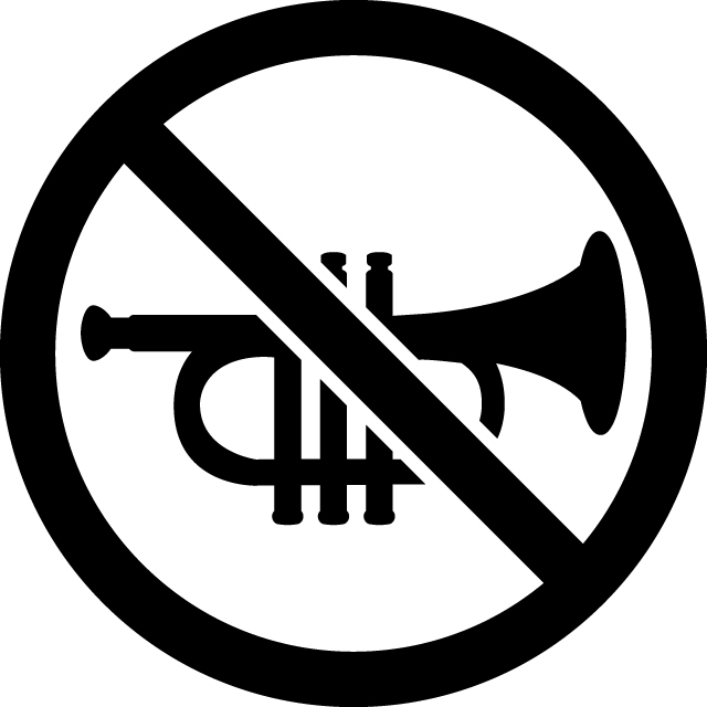 楽器演奏禁止マークのカッティングシートステッカー