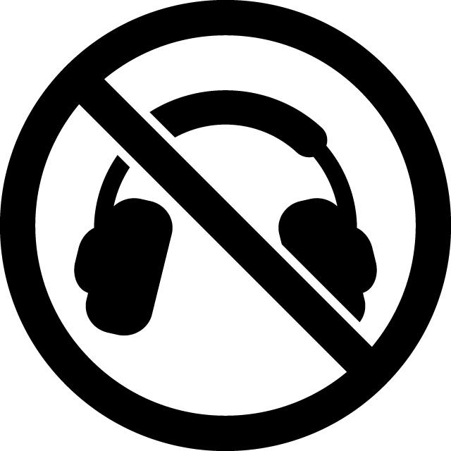 ヘッドホン禁止マークのカッティングシートステッカー
