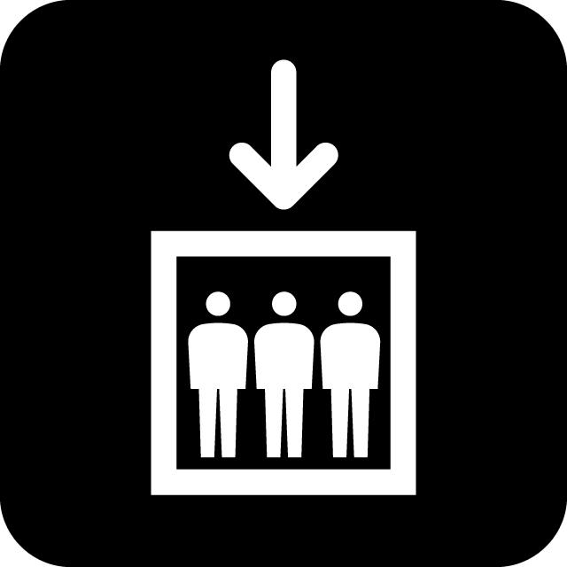 エレベーター案内マークのカッティングシートステッカー