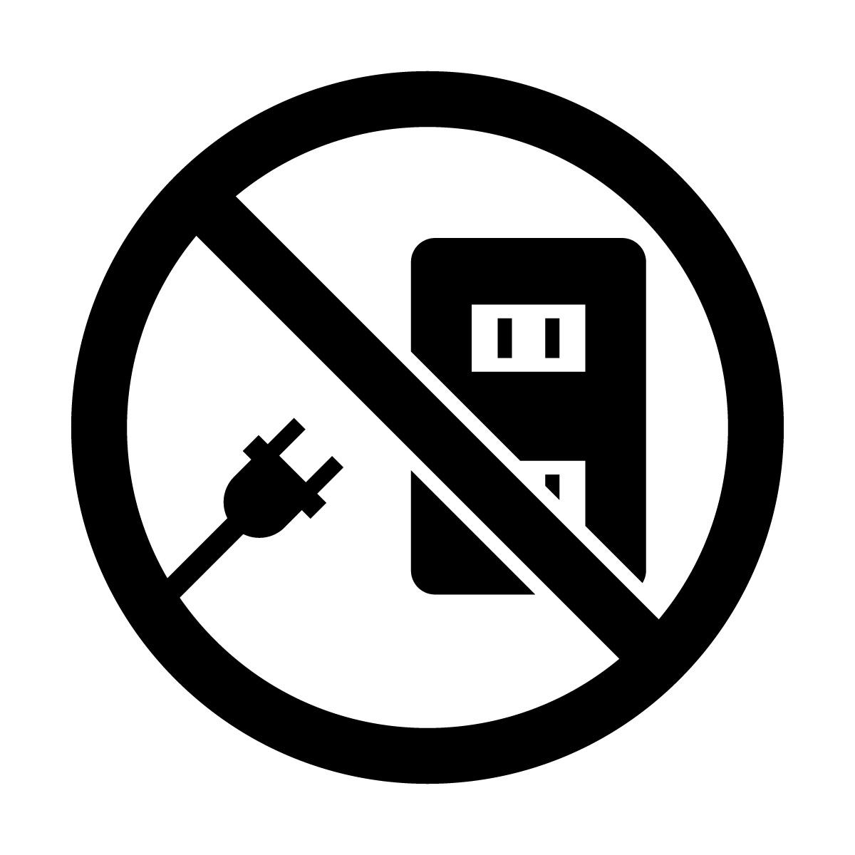 黒いコンセント使用禁止マークのカッティングシートステッカー