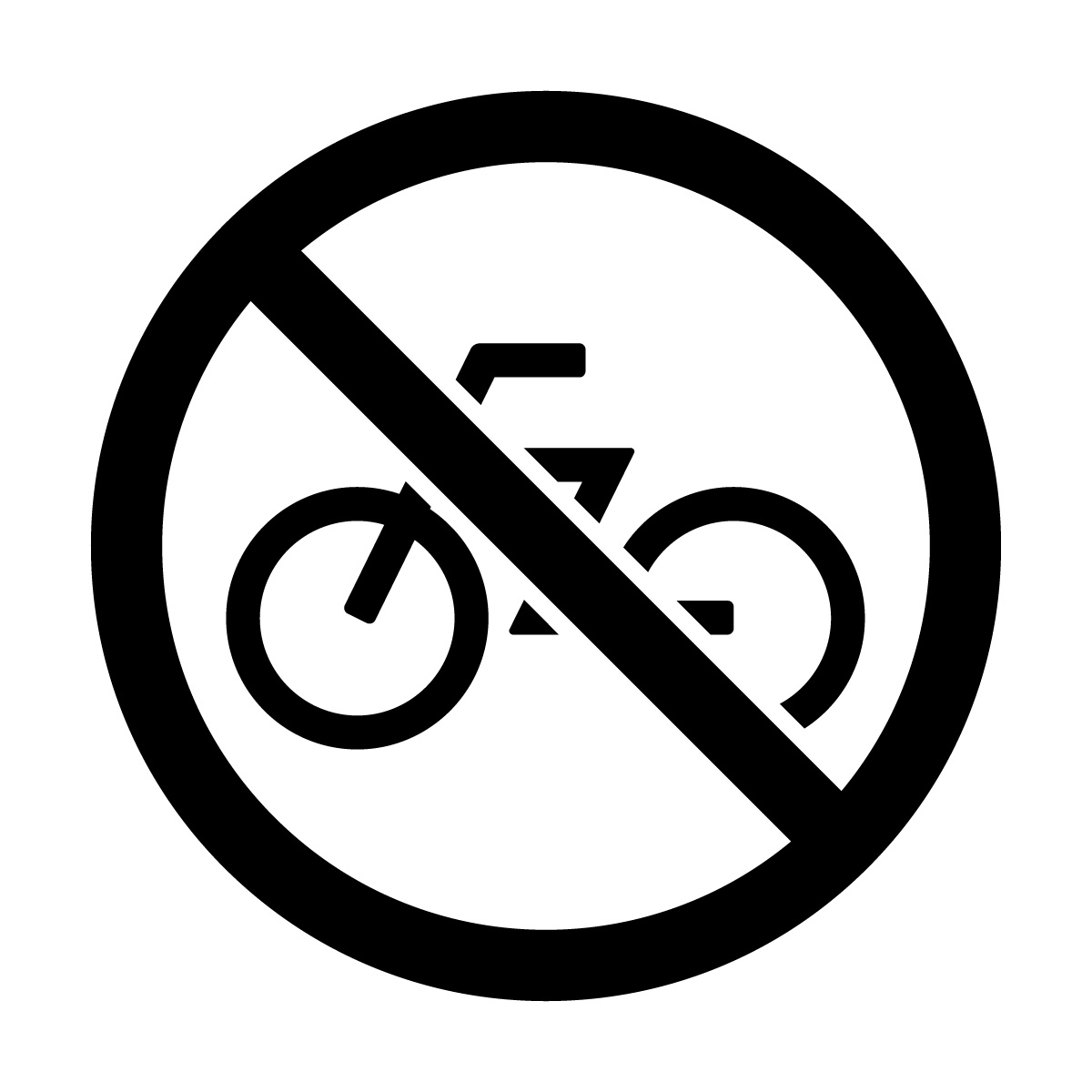 黒色の自転車走行や駐輪禁止マークのカッティングステッカーシール