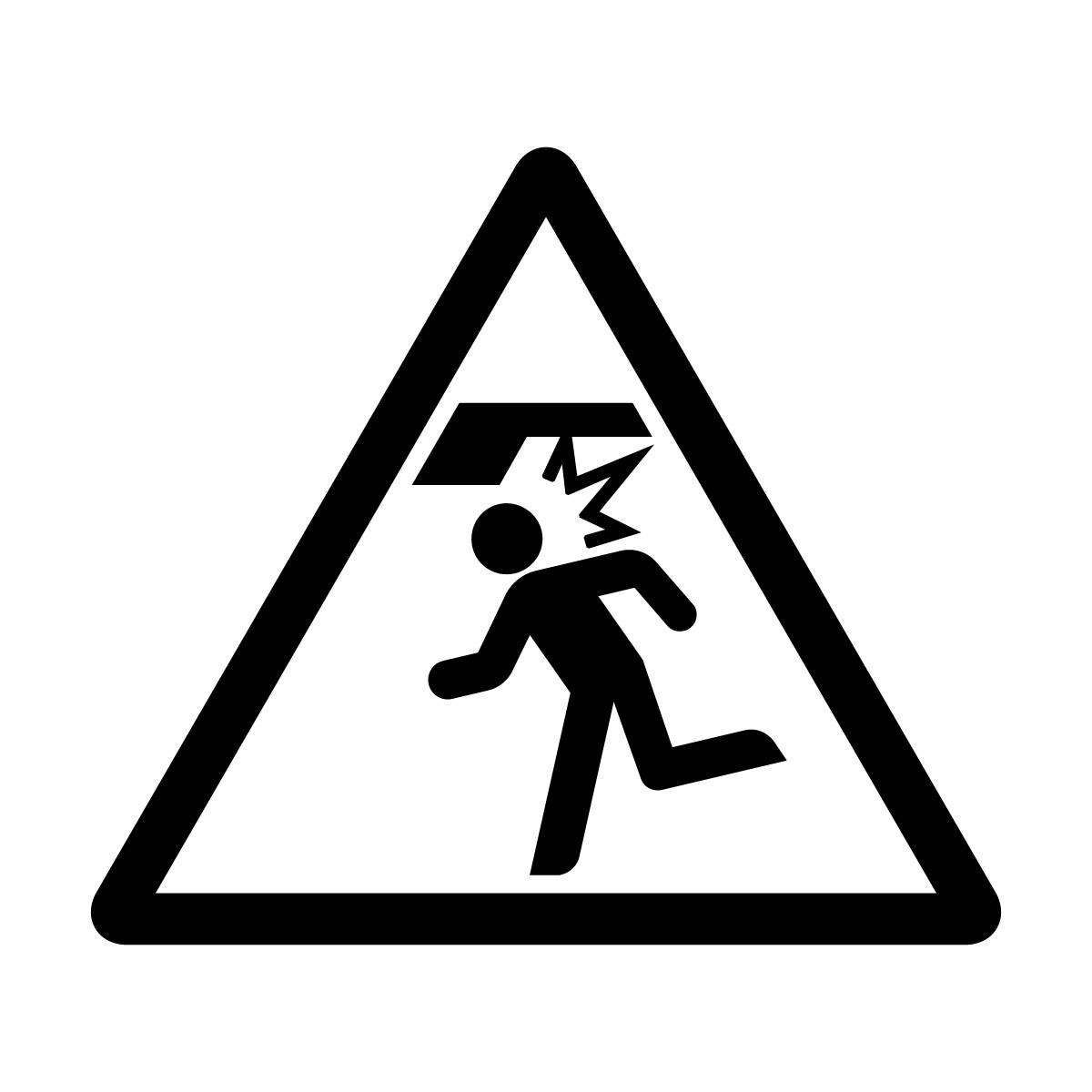 黒い頭上注意標識のカッティングステッカーシール