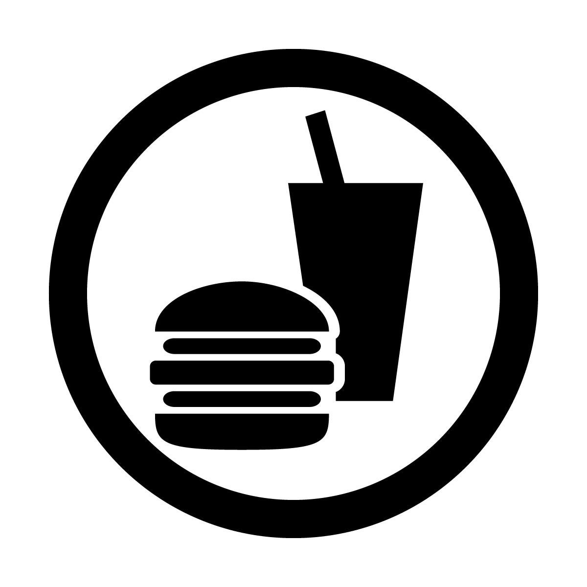 黒色の飲食OKマークのカッティングシートステッカー