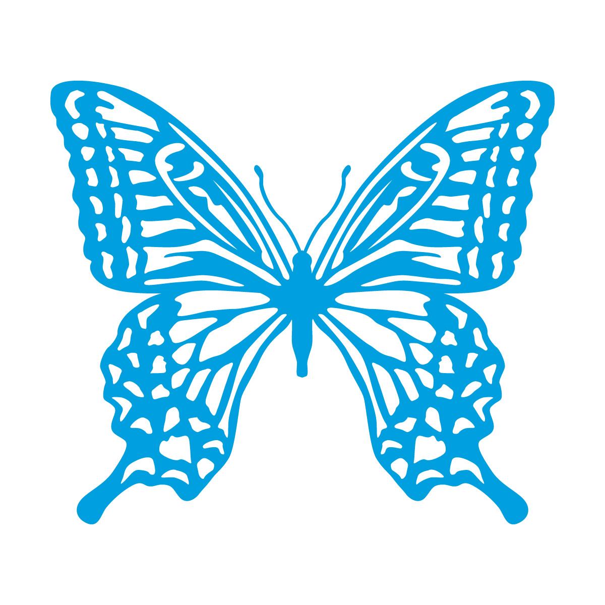 青色のアゲハ蝶・バタフライのカッティングステッカー・シール