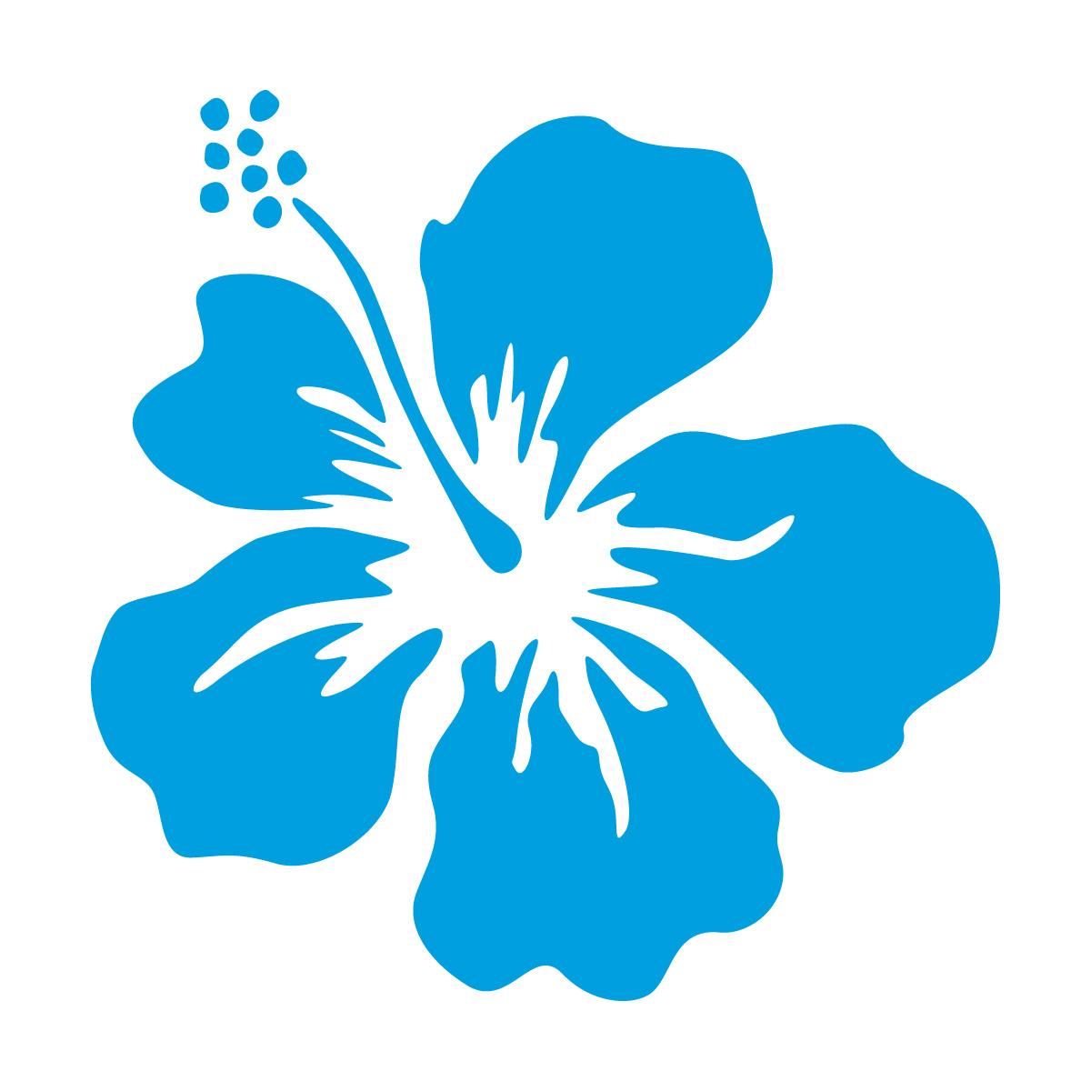 青色のハイビスカス・南国植物のカッティングステッカー・シール