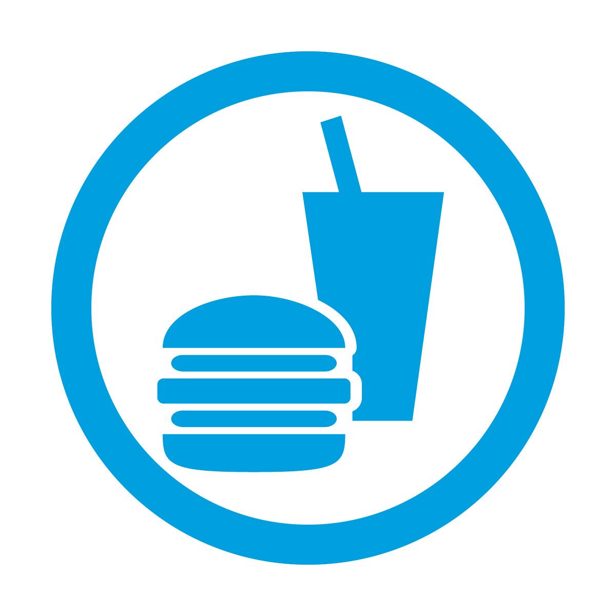 青色の飲食OKマークのカッティングシートステッカー