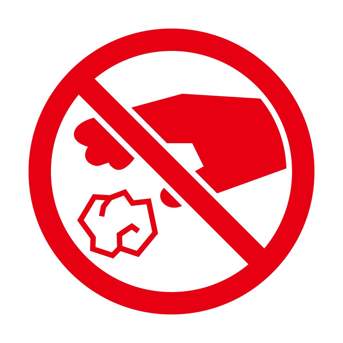 赤色のゴミのポイ捨て禁止マークのカッティングステッカー