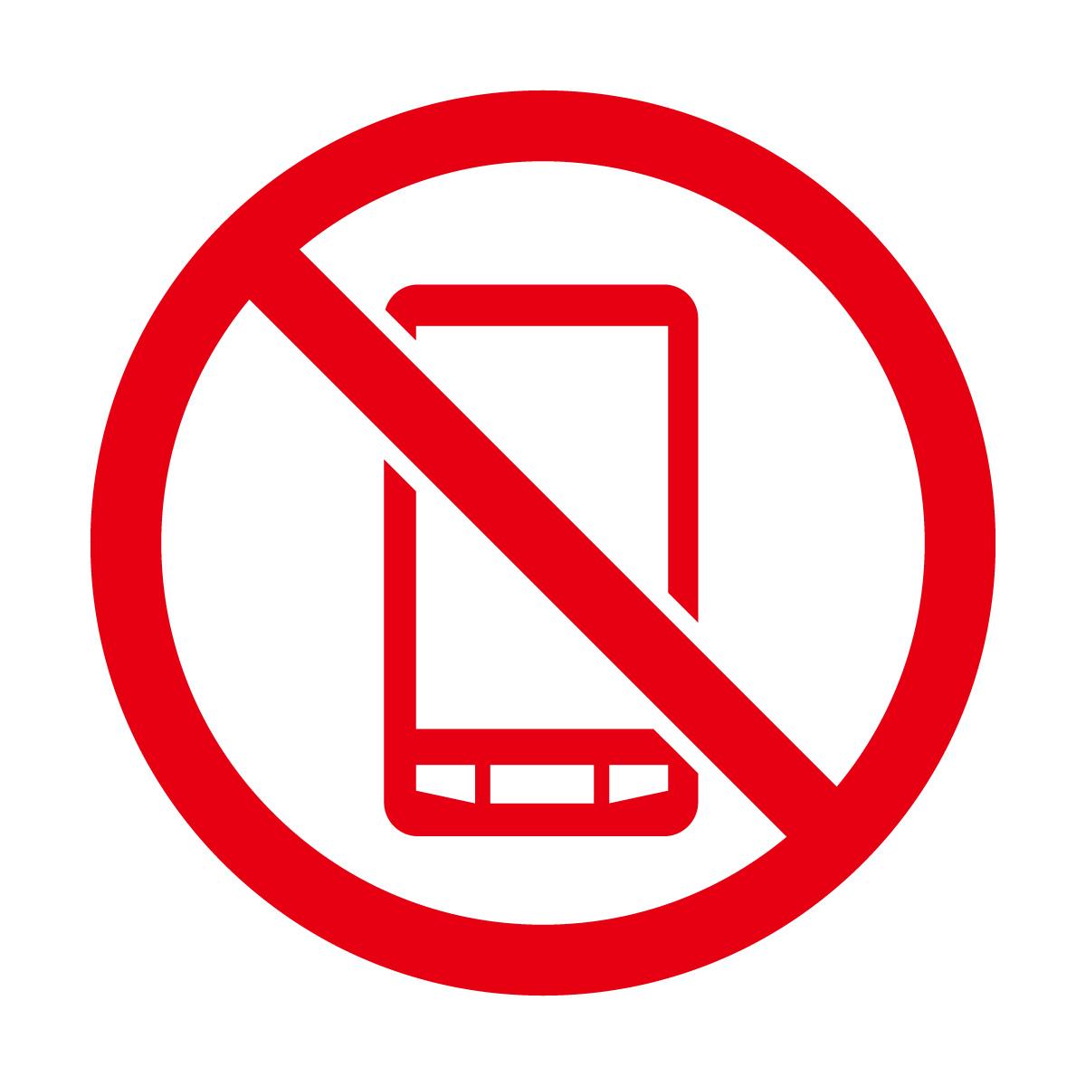 赤色のスマートフォン・携帯電話の使用禁止マークのカッティングシートステッカー
