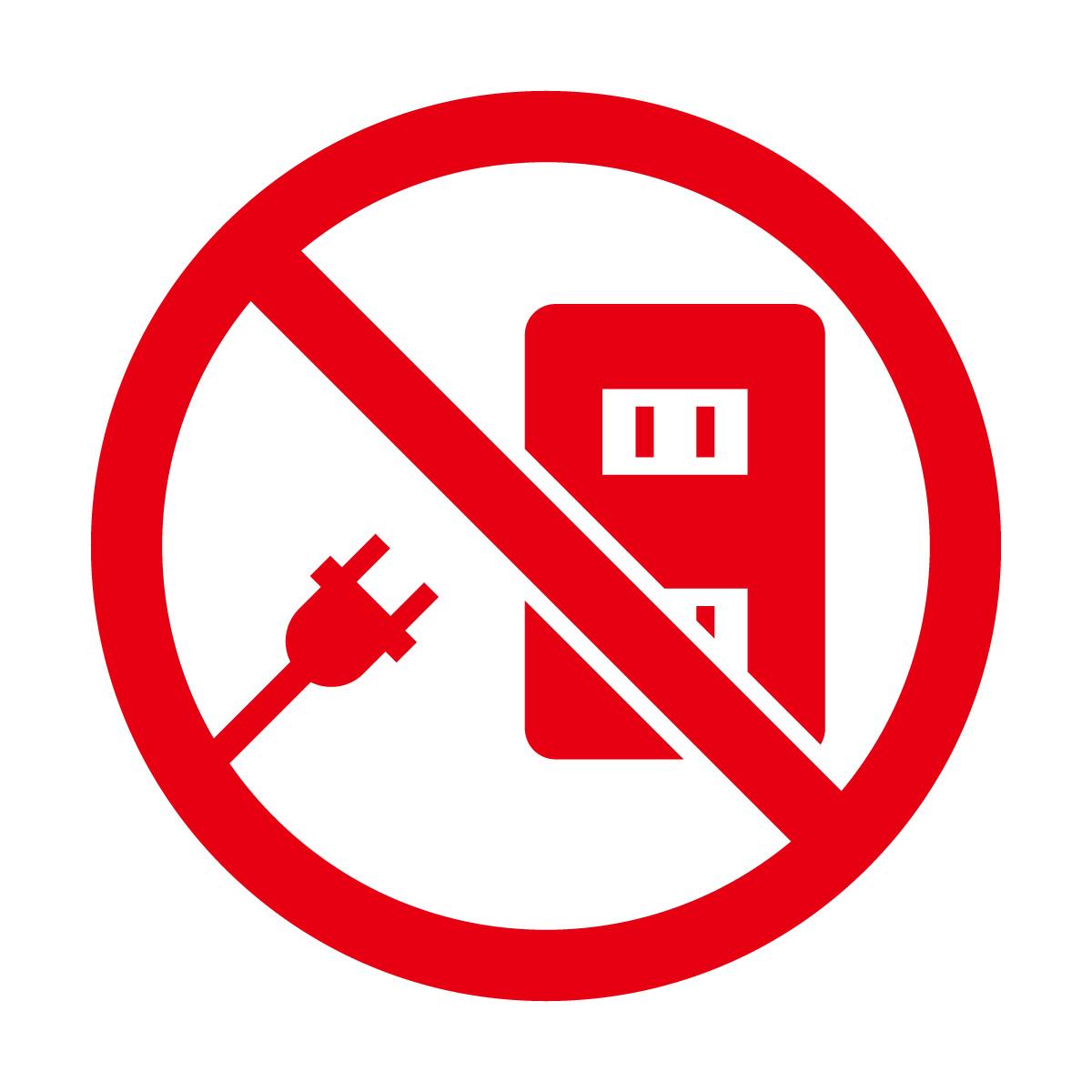 赤色のコンセント使用禁止マークのカッティングシートステッカー